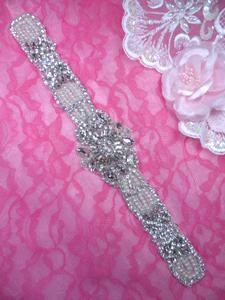 """XR322 Bridal Sash Motif Silver Beaded Crystal Rhinestone Applique w/ Pearls 12.25"""""""