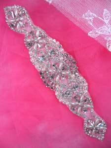 """XR323 Bridal Sash Motif Silver Beaded Crystal Rhinestone Applique w/ Pearls 8"""""""