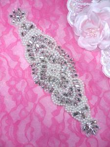 """XR325 Bridal Sash Motif Silver Beaded Crystal Rhinestone Applique w/ Pearls 9.75"""""""