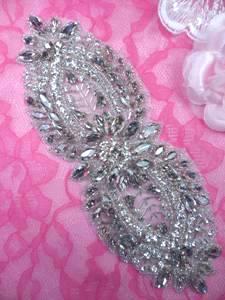"""XR326 Bridal Sash Motif Silver Beaded Crystal Rhinestone Applique 8.5"""""""