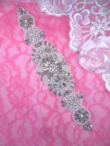 """XR328 Bridal Sash Motif Silver Beaded Crystal Rhinestone Applique w/ Pearls 10.5"""""""
