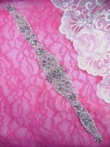 """XR329 Bridal Sash Motif Silver Beaded Crystal Rhinestone Applique w/ Pearls 15.75"""""""