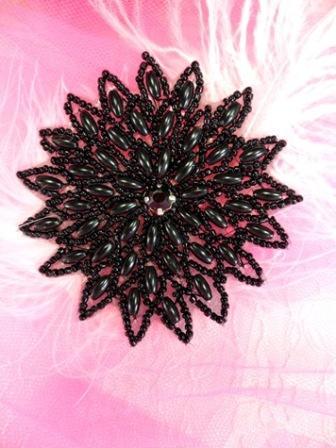 "XR33 Black Snowflake Beaded Applique 3.25"""