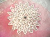 "Behold the Pearls on this Flower Applique White Beaded w/ Rhinestone Center 3.25"" (XR33)"