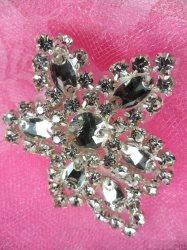 """XR330 Crystal Rhinestone Applique Silver Setting 2.5"""""""
