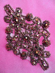 "XR332 Victorian Bronze Beaded Applique Sewing Patch Motif 4"""