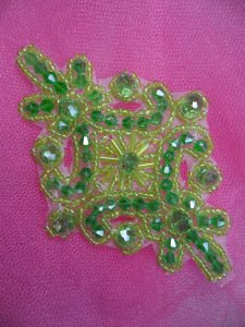 """XR332 Victorian Lime Green Beaded Applique Sewing Patch Motif 4"""""""
