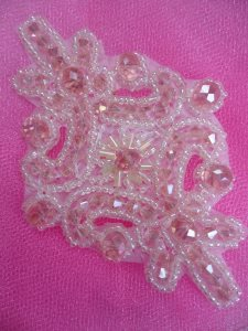 """XR332 Victorian Pink Beaded Applique Sewing Patch Motif 4"""""""