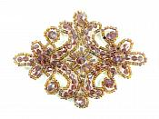 "Victorian Plum AB Beaded Applique Sewing Patch Motif 4"" XR332"