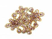 """Victorian Plum AB Beaded Applique Sewing Patch Motif 4"""" XR332"""
