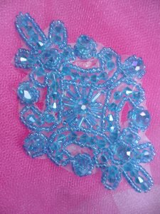 """XR332 Victorian Turquoise Beaded Applique Sewing Patch Motif 4"""""""