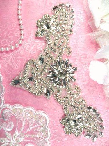 """XR335 Bridal Applique Crystal Rhinestone Silver Beaded Yoke 7.75"""""""