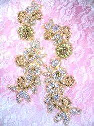 "XR337 Floral Matte Gold Beaded Mirror Pair Aurora Borealis Crystal AB Rhinestone Appliques 9"""