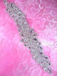 """XR341 Bridal Sash Crystal Rhinestone Applique Silver Setting 10"""""""