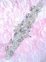 """XR343 Bridal Sash Crystal Rhinestone Applique Silver Setting 9"""""""