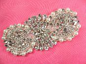 "Rhinestone Applique w/ Silver Beads and White Pearls Iron on 4"" (XR344)"