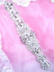 """XR346 Pearl Applique Crystal Clear Silver Beaded Rhinestone 10.25"""""""