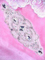 """XR347 Pearl Applique Crystal Clear Silver Beaded Rhinestone 9"""""""