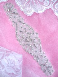 XR348 Victorian Silver Beaded Crystal Rhinestone Applique Sewing Patch Motif  8.5""