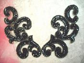 "Sequin Appliques Evergreen Scroll Designer Beaded Iron On Hot Fix Mirror Pair 7"" (XR357X)"