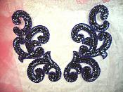 "Sequin Appliques Navy Blue Scroll Designer Beaded Iron On Hot Fix Mirror Pair 7"" (XR357X)"
