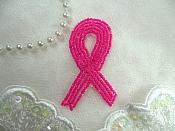 "Breast Cancer Awareness Ribbon Pink Beaded Applique Bow Sewing Patch Motif Iron On 2.75"" (XR358-pk)"