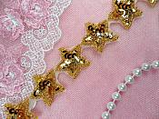 "Star Trim Gold Sequin Beaded Iron On 1"" Banding (XR359-gl)"