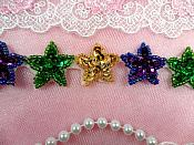 "Mardi Gras Star Trim Sequin Beaded Iron On 1"" Banding (XR359-mg)"