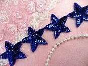 "Star Trim Blue Sequin Beaded Iron On 2"" Banding (XR360-bl)"