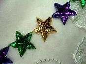 "Mardi Gras Star Trim Sequin Beaded Iron On 2"" Banding (XR360-mg)"