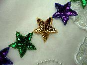 "Mardi Gras Star Trim Sequin Beaded Iron On 2"" Banding (XR360-mg)"