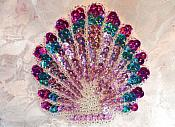 "Seashell Applique Sequin Beaded Multi-color Mauve Nautical Patch Beach Fun Crafts 3.25"" (XR361)"