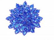 "Blue Sequin Applique Floral Beaded Iron on Patch 3""  XR364"