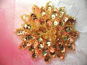 """Gold Sequin Applique Floral Beaded Iron on Patch 3"""" (XR364)"""