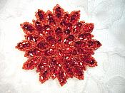"Red Sequin Applique Floral Beaded Iron on Patch 3"" (XR364)"