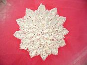 """White Sequin Applique Floral Beaded Iron on Patch 3"""" (XR364)"""