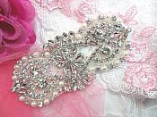 """Bridal Applique Silver Crystal Clear Rhinestone w/ Pearls for Bridal Accessories 4.5"""" (XR365)"""