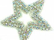 "Star Applique Crystal AB Aurora Borealis Rhinestones Silver Beads Dance Costume Patch Iron on 3.25""  XR367"