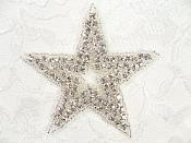 "Star Applique Crystal Rhinestone Silver Beads Dance Costume Motif Patch Hot Fix Iron on 3.25"" (XR367)"