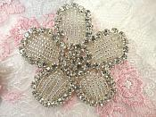 "Floral Applique Crystal Rhinestones w/ Silver Beads Flower Applique 2.5"" (XR368)"