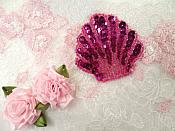 "Seashell Applique Sequin Beaded Fuchsia Nautical Patch 2"" (XR369)"