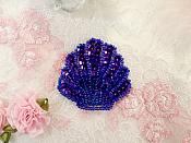 "Seashell Applique Sequin Beaded Purple Nautical Patch 2"" (XR369)"