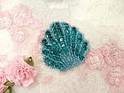 "Seashell Applique Sequin Beaded Turquoise Nautical Patch 2"" (XR369)"