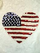 """Large Patriotic Applique Heart Beaded Sequin American Flag Patch 6.5"""" (XR370)"""