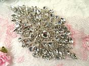 "Shoe Applique Endless Crystal Rhinestones Silver Settings Motif Patch 4.75"" (XR371)"