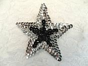 "Sequin Star Applique Iron On Black Silver Patch 3"" (XR377)"