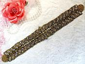 "Black Backing Bridal Belt Gold Beaded Crystal Rhinestone Applique 12"" (XR379)"