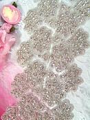 """(18"""" Remnant) Floral & Fan Silver Beaded Rhinestone Trim (RMXR38)"""