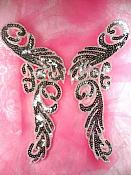"""Sequin Appliques Silver Beaded Mirror Pair Dance Costume Patch 9"""" XR382X"""