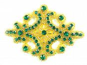 "Green Gold Applique Crystal Rhinestone Gold Beaded 4""  XR391"